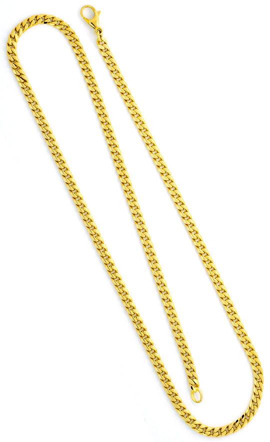 Foto 3, Flachpanzerkette Goldkette massiv Gelbgold 14K 8-Kantig, K2341