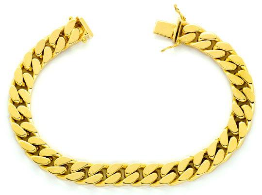 Foto 1, Flachpanzer Goldarmband massiv Gelbgold Kastenverschluß, K2342