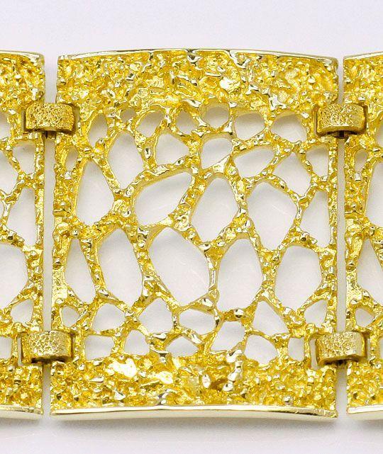 Foto 2, Designer Rohgold Waben Armband Goldarmband Gelbgold 14K, K2344