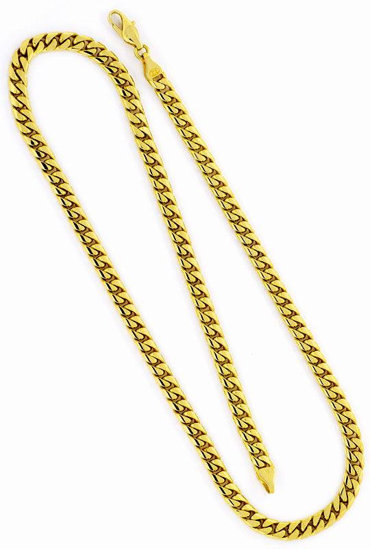 Foto 3, Flachpanzerkette gewölbt Goldkette massiv Gelb-Gold 14K, K2347