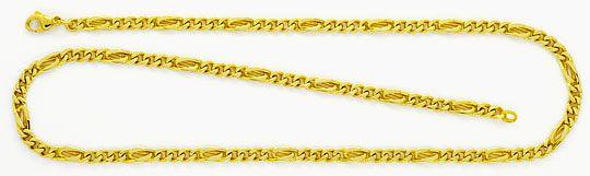 Foto 1, Flachpanzer Pfauenauge Tigerauge Gold-Kette massiv Gold, K2348