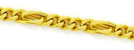 Foto 2, Flachpanzer Pfauenauge Tigerauge Gold-Kette massiv Gold, K2348