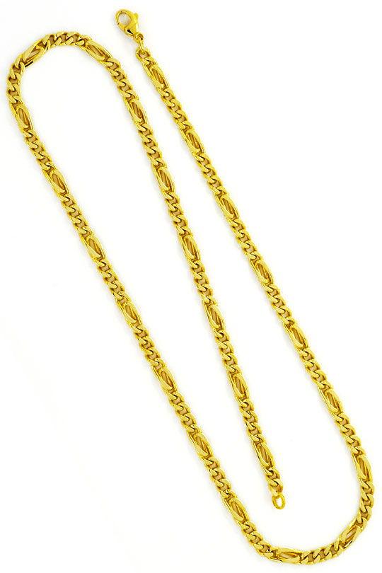 Foto 3, Flachpanzer Pfauenauge Tigerauge Gold-Kette massiv Gold, K2348