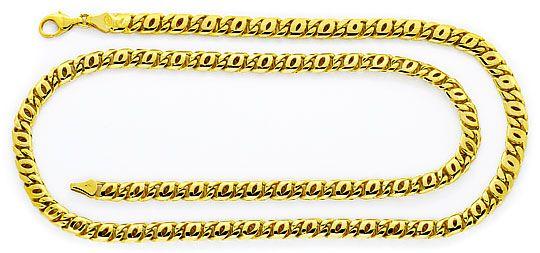 Foto 1, Pfauenauge Tigerauge Kette Goldkette gewölbt massiv 14K, K2352