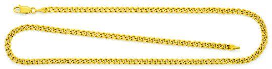 Foto 1, Flachpanzer-Kette Gold-Kette massiv Gelbgold 14K 6-Kant, K2353