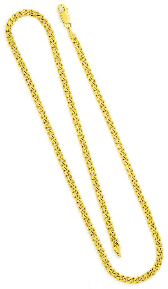 Foto 3, Flachpanzer-Kette Gold-Kette massiv Gelbgold 14K 6-Kant, K2353