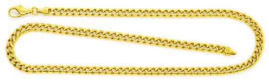 Foto 1, Eckige Flachpanzer Kette Goldkette massiv Gelb-Gold 14K, K2354