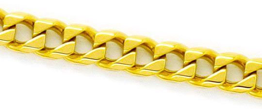 Foto 2, Eckige Flachpanzer Kette Goldkette massiv Gelb-Gold 14K, K2354