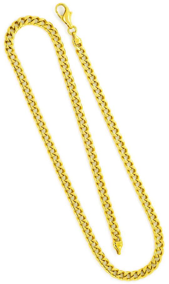 Foto 3, Eckige Flachpanzer Kette Goldkette massiv Gelb-Gold 14K, K2354