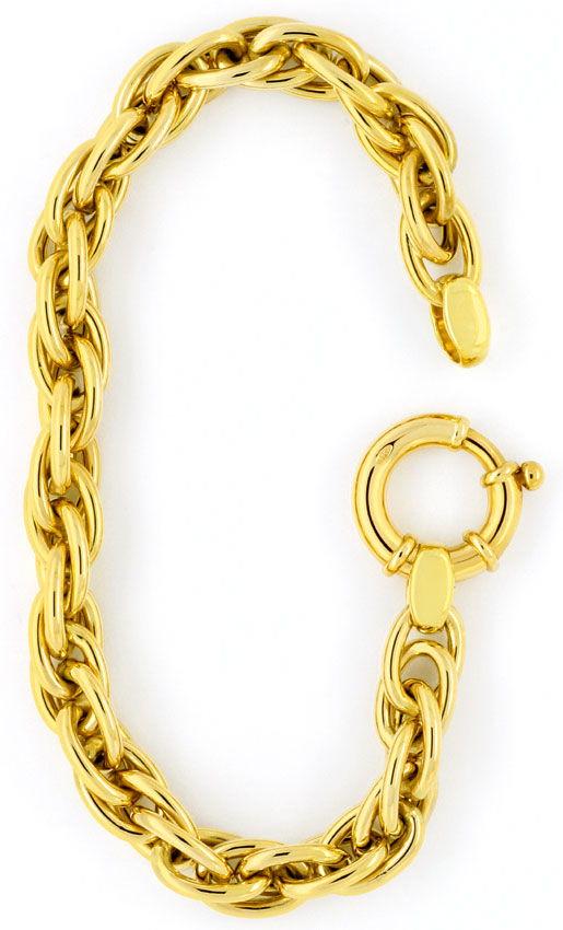 Foto 2, Drei-fach-Anker Gold-Armband Riesen-Federring Gelb-Gold, K2357