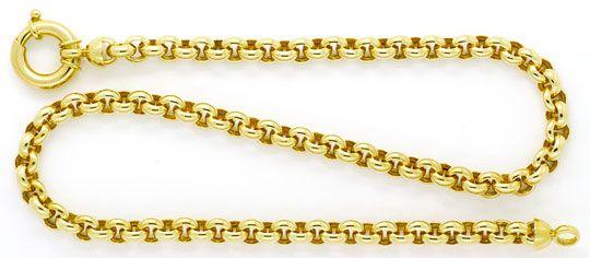 Foto 1, Erbsen-Goldkette mit Riesen-Federring Gelb-Gold 14K/585, K2359