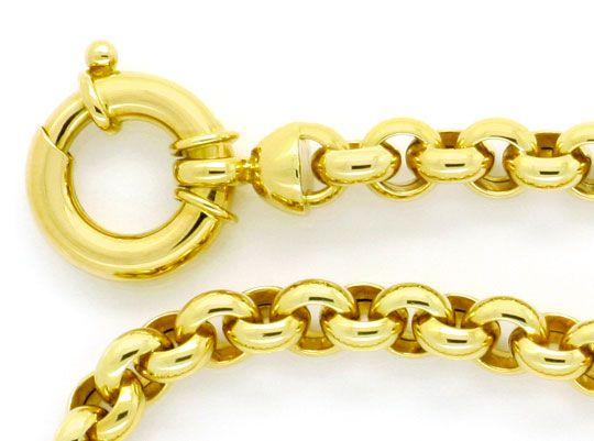 Foto 2, Erbsen-Goldkette mit Riesen-Federring Gelb-Gold 14K/585, K2359