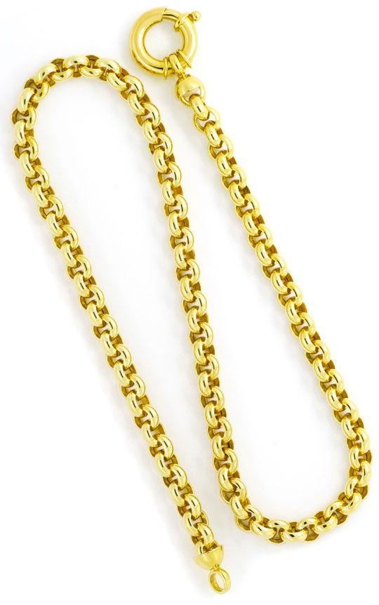 Foto 3, Erbsen-Goldkette mit Riesen-Federring Gelb-Gold 14K/585, K2359