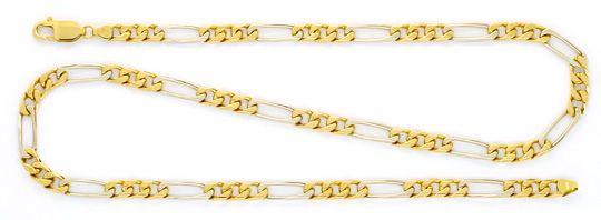 Foto 1, Figaro-Flachpanzer Gold-Kette massiv Gelbgold Weissgold, K2360