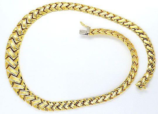 Foto 1, Designer-Z-Gold-Kollier Gelbgold teilrhodiniert 14K/585, K2362