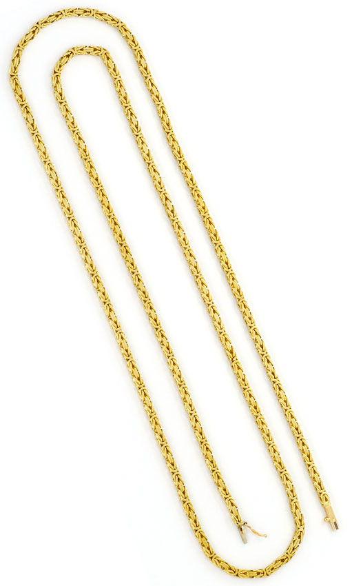Foto 3, Königskette Goldkette massiv Gelbgold Kasten-Verschluss, K2365