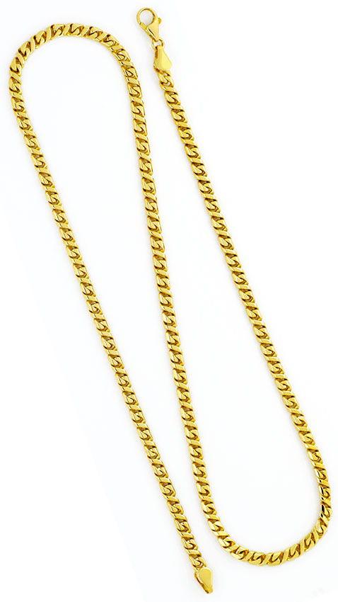 Foto 3, Design Flachpanzer Goldkette Achteckig Querstege massiv, K2366