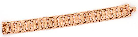 Foto 1, Rotgold Rauten Backstein Gold-Armband Kasten-Verschluss, K2369
