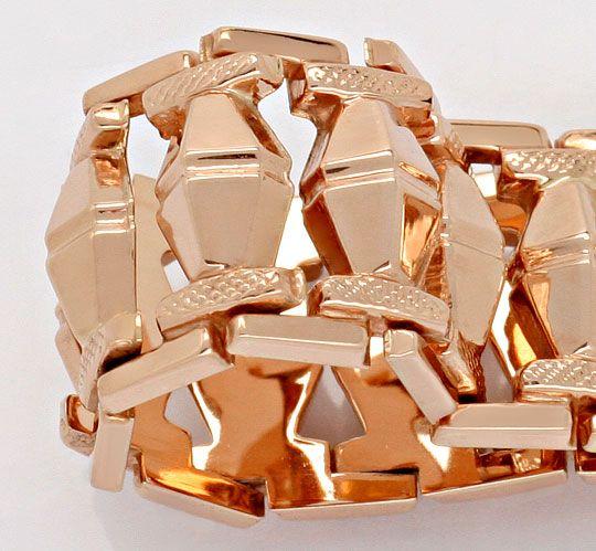 Foto 2, Rotgold Rauten Backstein Gold-Armband Kasten-Verschluss, K2369