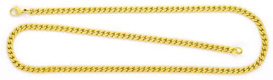 Foto 1, Flachpanzer Goldkette massiv Gelbgold Karabiner 14K/585, K2370