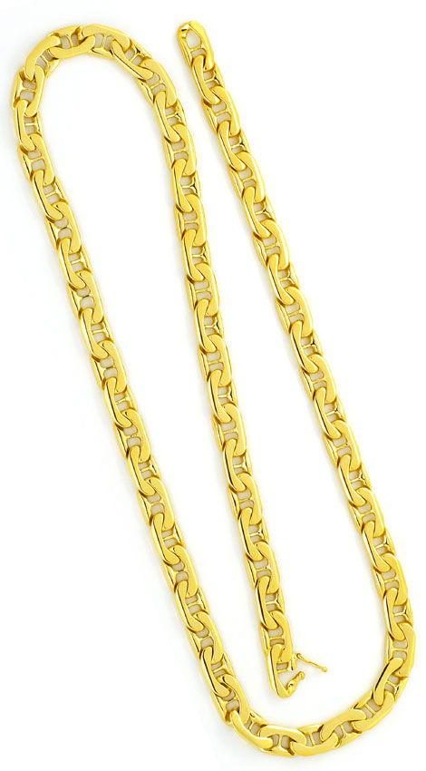 Foto 3, Riesen Stegflachpanzer Goldkette massiv Gelbgold 14K585, K2371