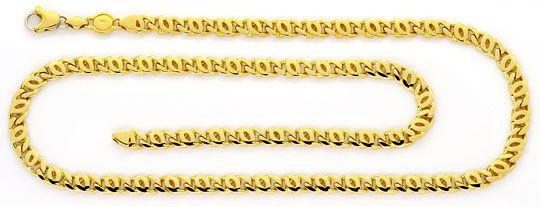 Foto 1, Pfauenauge-Goldkette Tigerauge-Goldkette massiv 18K/750, K2372