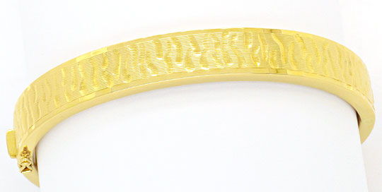 Foto 1, Goldarmreif Design Borkengravur Gelbgold 14K Armschmuck, K2374