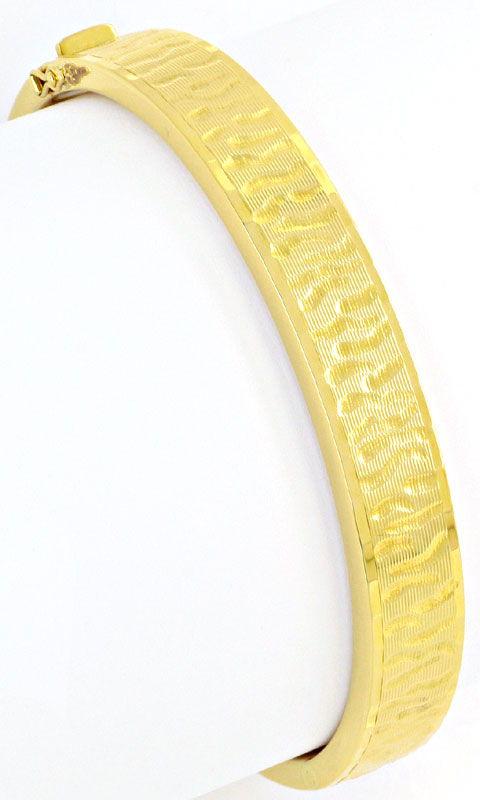 Foto 2, Goldarmreif Design Borkengravur Gelbgold 14K Armschmuck, K2374