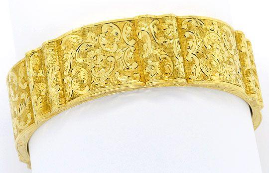 Foto 1, Alter Gewellter Gold-Armreif Floral-Gravuren Museal 14K, K2377