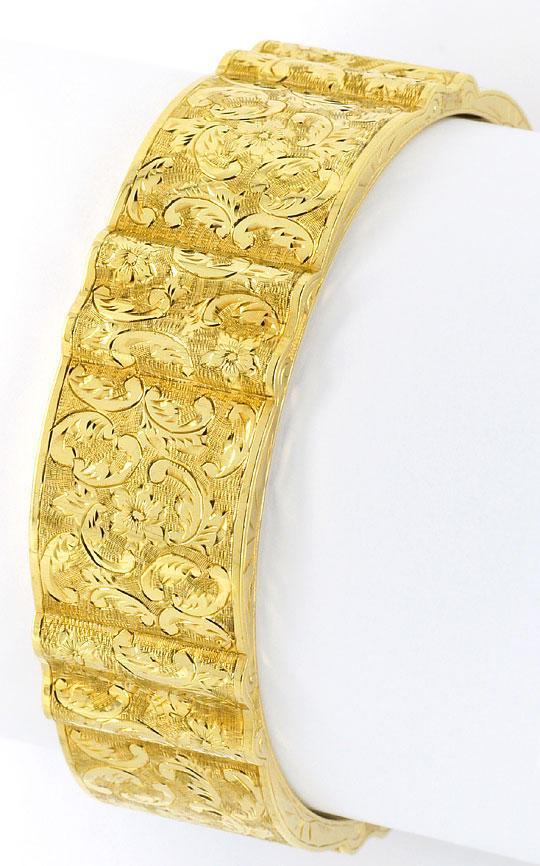 Foto 2, Alter Gewellter Gold-Armreif Floral-Gravuren Museal 14K, K2377