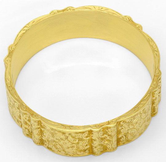 Foto 3, Alter Gewellter Gold-Armreif Floral-Gravuren Museal 14K, K2377