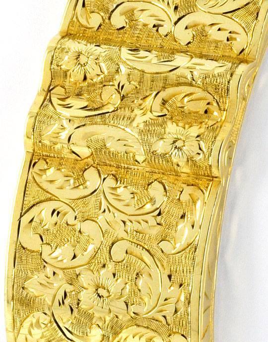 Foto 4, Alter Gewellter Gold-Armreif Floral-Gravuren Museal 14K, K2377