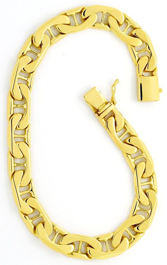 Foto 2, Massives Steg-Flachpanzer Gold-Armband Gelbgold 14K/585, K2378