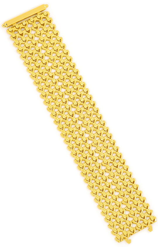 Foto 3, Breites dekoratives Designer Gold-Armband, Gelbgold 18K, K2380