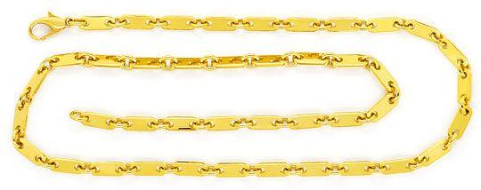 Foto 1, Massive Plättchenkette Goldkette Gelbgold Karabiner 14K, K2385