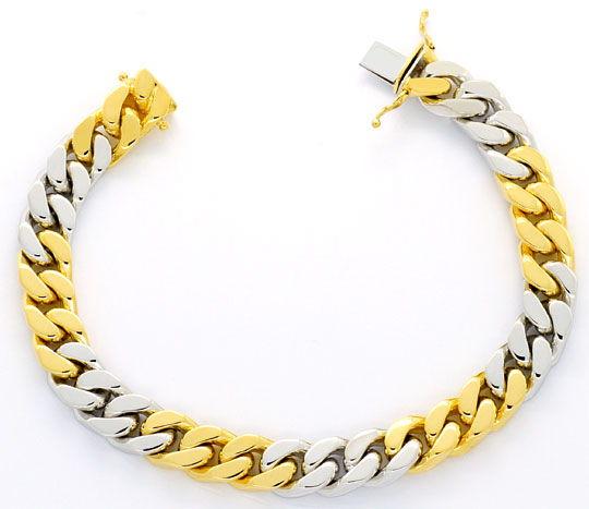 Foto 1, Flachpanzer-Gold-Armband massiv Gelb-Gold Weissgold 18K, K2387