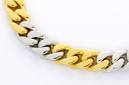 Foto 2, Flachpanzer-Gold-Armband massiv Gelb-Gold Weissgold 18K, K2387