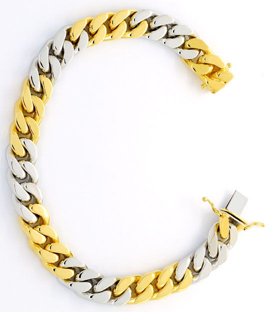 Foto 3, Flachpanzer-Gold-Armband massiv Gelb-Gold Weissgold 18K, K2387
