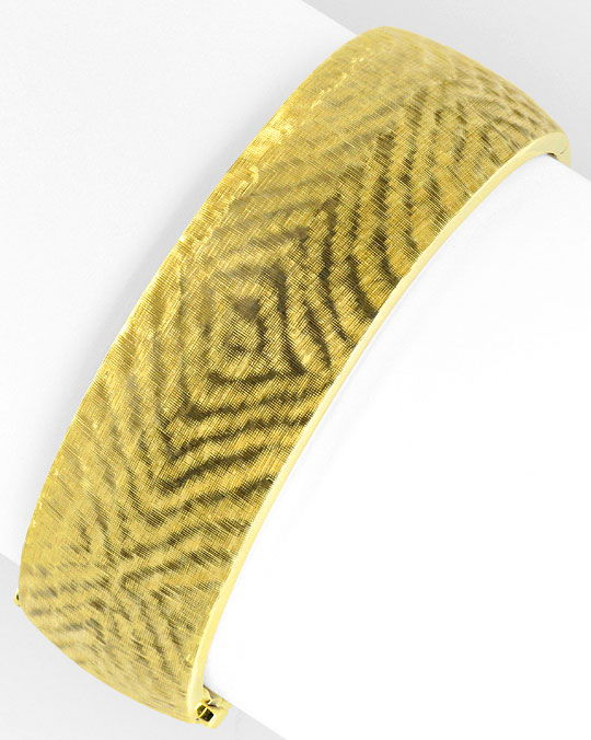 Foto 2, Gold-Armreif feinste Gravur, 14K/585 Doppel-Verschlusss, K2388