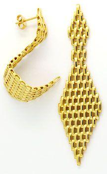 Foto 1, Set aus Kette Armband Ohrhängern Backstein 18K Gelbgold, K2404