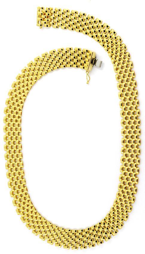 Foto 3, Set aus Kette Armband Ohrhängern Backstein 18K Gelbgold, K2404