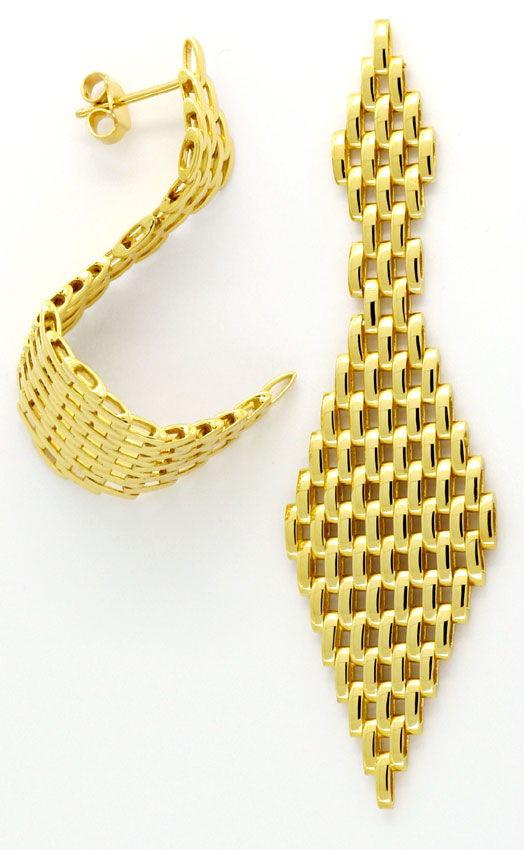 Foto 4, Set aus Kette Armband Ohrhängern Backstein 18K Gelbgold, K2404