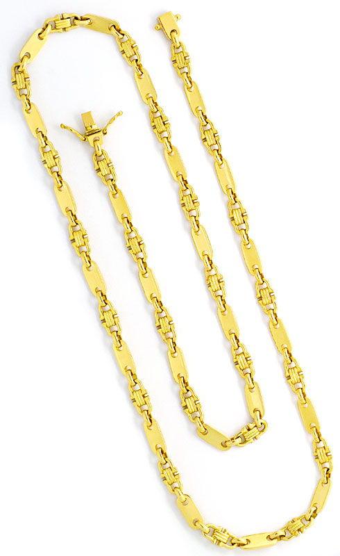 Foto 3, Plättchen Steigbügel Goldkette massiv Gelb-Gold 18K/750, K2405