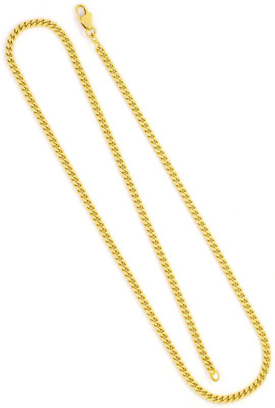 Foto 2, Flachpanzer-Goldkette massiv Gelbgold mit Karabiner 14K, K2407