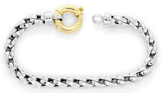 Foto 1, Designer Zopf-Gold-Armband Gelbgold Weissgold Federring, K2412