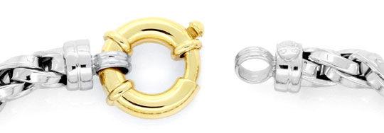 Foto 2, Designer Zopf-Gold-Armband Gelbgold Weissgold Federring, K2412