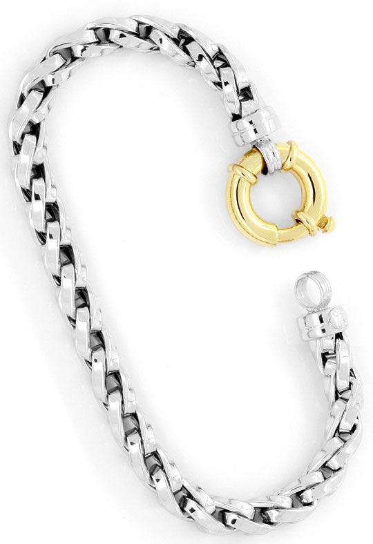 Foto 3, Designer Zopf-Gold-Armband Gelbgold Weissgold Federring, K2412