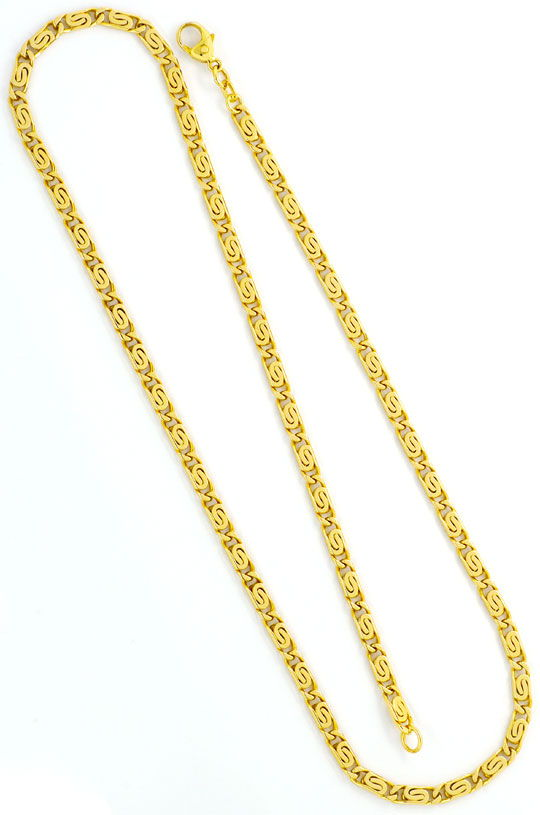 Foto 3, S-Flachpanzer-Goldkette massiv Gelb-Gold 14K achtseitig, K2413