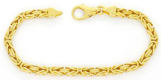 Foto 1, Königsketten-Goldarmband massiv Gelb-Gold 14K Karabiner, K2417