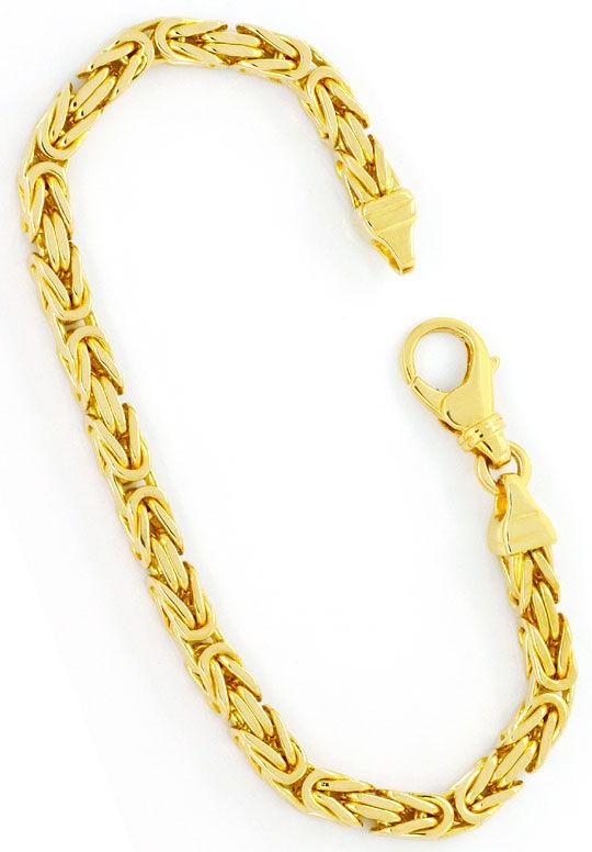 Foto 3, Königsketten-Goldarmband massiv Gelb-Gold 14K Karabiner, K2417